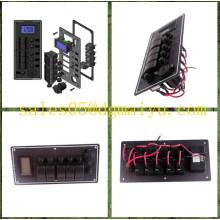 New 5 Gang Aluminium LED Rocker & LED Voltmeter Waterproof Switch Panel