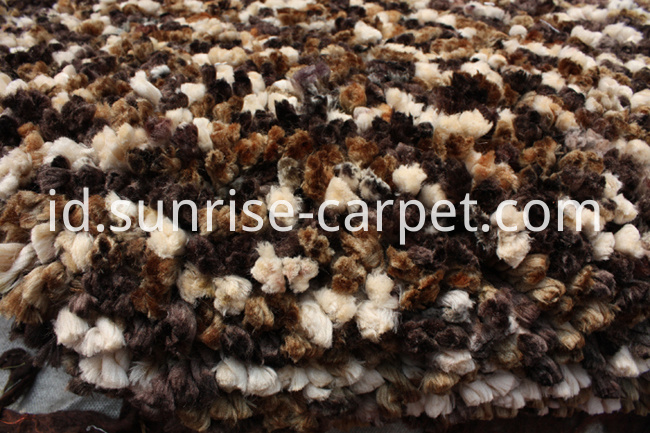100% Polyester Shaggy rug brown color