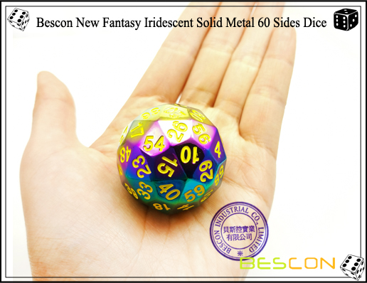 Bescon New Fantasy Iridescent Solid Metal 60 Sides Dice-2