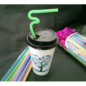 Customized Colorful Printing Drink Straw, Plastic Straw for Cold Drink