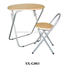 folding table and chair with metal frame
