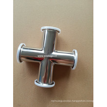 Sanitary Stainless Steel Clamped 4-Way Cross Pipe Fitting