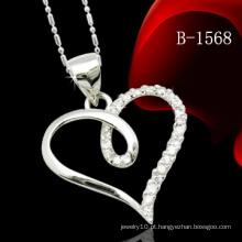 925 pingente de coração pingente de prata esterlina com pedra