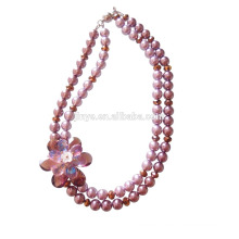 Fashion Bling Crystal Pearl Flower Statement Necklace