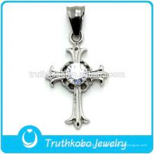 Diseño de fábrica con CZ Stone Christian Cross Colgante de cruz de acero inoxidable de alta calidad de Cristo Religioso