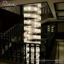Candelabro de Cristal de Ouro Tamanho Grande e Moderno com Villa