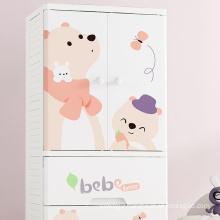 Children's wardrobe large cartoon plastic combination double door multi-layer drawer storage cabinet baby's wardrobe