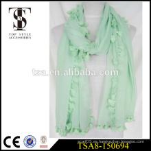 Bufanda azul clara del poliester de la manera 100% de la bufanda con la borla del pompon todo alrededor