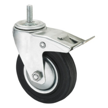 Middle Duty Series Caster - Threaded W / Brake - Black Industrial Rubber (rolamento de rolos)
