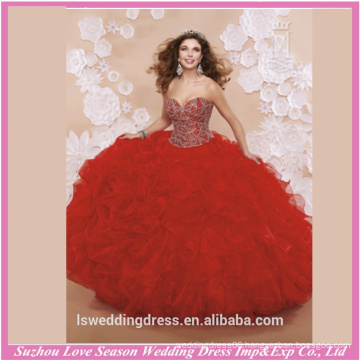LQ0006 Design beaded patterns top corset back long prom dresses quinceanera formal dresses red strapless quinceanera dress
