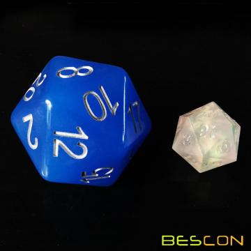 Bescon Jumbo Glowing D20 38MM, Big Size 20 Seiten Würfel Blau Glow In Dark, Big 20 Faces Cube 1,5 Zoll
