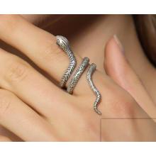 925 Стерлингового Серебра Мужская Кольцо Змея Моделирование Полуоткрытый