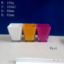 Square Colored Printing Glass Candle Jar Glass Candle Holder Wholesale