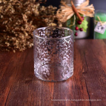 500ml Straight-Walled Glass Candle Holder with Electroplated Laser