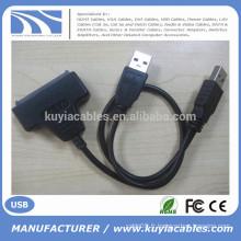 """Câble de convertisseur haute vitesse SATA vers USB Câble USB 2.0 vers sata 15 + 7 broches pour disque dur de 2,5 """""""