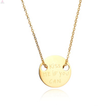 Custom Stamp Couple Initial Engraved Pendant Necklace
