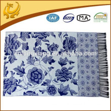 Hijab Viscose Material Hot Sell White And Blue Chiese Style Long Scarf For Lady