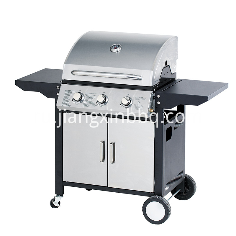 3 1 Burners Gas Bbq Grill With Foldable Side Tables Silver Coated Door