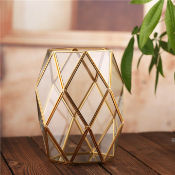 Succulent Moss Flower Pot Containers Clear Glass Planter Tabletop Geometric Decorative Terrarium