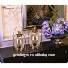 Hanging home dekorative Glas Metall Handwerk Metall Griff Glas Kerze Halter Laternen
