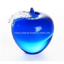 Blue Apple Paperweight in Crystal Souvenir Gift
