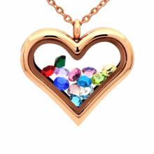 Fashionable heart shape photo inside locket pendant jewelry