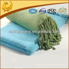 2015 New Style Yarn Dyed Solid Color Plain Woven Wholesale Throw Blanket
