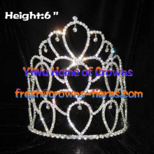 6inch Heart Shaped Rhinestone Pageant Crowns