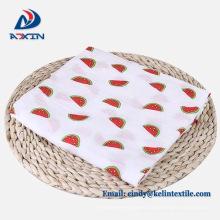 Custom printing swaddle blanket 100% organic cotton muslin baby swaddle