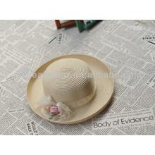 Sombrero de playa de verano sombrero de sombrero sombreros de paja de papel al por mayor con flor