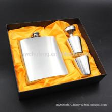 Портативный 7 унций Хип колбу набор из нержавеющей стали кувшин бутылки вина подарочной коробке карманный