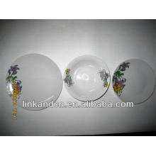 Haonai 12pcs exported high quality porcelain dinner plate sets