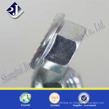Tuerca de brida hexagonal con zinc brillante