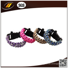 Colorful Braided Survival Bracelet with Fire Starter and Compass
