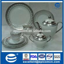 luxury dubai style silver plated porcelain tea set
