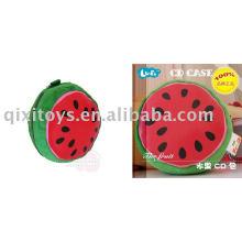 caja de CD de sandía, soporte de CD de fruta de felpa y peluche