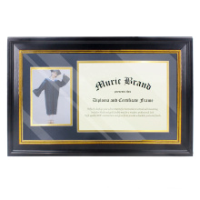 creative 13*21 black polystyrene custom  Gold Trim 2 Openings Document Certificates Photo Frame for memorial  gift