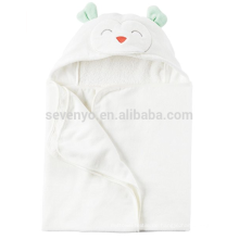 Smiling White Bear Style Hooded Baby Bath Towel,Extra Soft 100% Cotton Hooded Towel