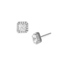 Silver Micro Pave Square Stud Earrings Jewelry Wedding Earrings