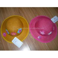 girls fashion summer hat with flower patch work