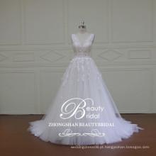 Alibaba atacado chinês v-pescoço e v-back rendas vestido de noiva princesa popular vestido de uma linha