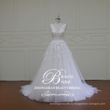 Китайская alibaba оптовая V-образным вырезом и V-обратно кружева свадебное платье популярные принцесса-line свадебное платье