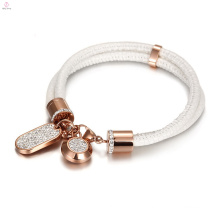 Crystal Rose Gold Stainless Steel Double Layer White Snake Leather Bangle Bracelet