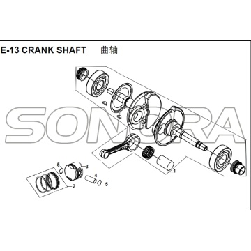 E-13 CRANK SHAFT para XS125T-16A Fiddle III Spare Part Top Quality