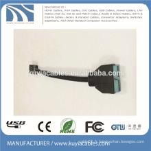 USB3.0 20Pin à USB2.0 Adaptateur femelle 9pin Câble d'extension de câble