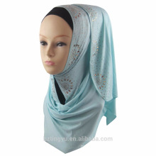 Factory supplier color plain printed cotton hijab muslim glitter jersey prayer shimmer stone stretch jersey hijab scarf