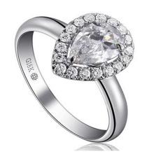 Forma de pêra maravilhosa brilhante diamante sintético moda anel de casamento jóias