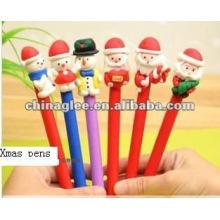 Stock por mayor plumas de bola de Navidad, Navidad plumas, bolígrafos con santa claus y muñeco de nieve.