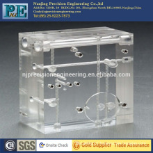 Nanjing custom cnc machining and drilling clear acrylic block