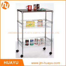 Two Basket 3 Tiers Wire Shelving Display Wire Cart